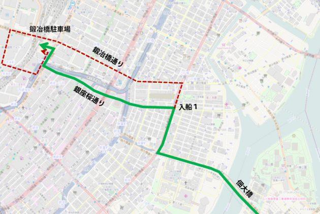 ギフトショーシャトル、復路が月島駅経由+経路変更に